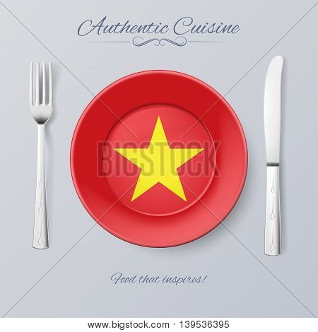 Authentic Cuisine of Vietnam. Plate with Vietnam Flag and Cutlery