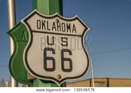 Sign for Route 66 in Oklahoma in the shape of the US Highway shield