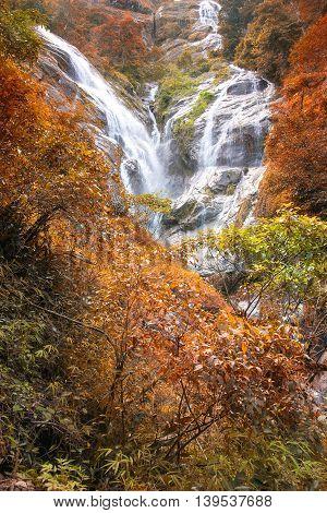 Pre To Lo Su or Pi Tu Kro waterfall (Heart-shaped waterfall) Umphang Tak ,Thailand. Autumn Scene.