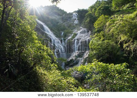 Pre To Lo Su or Pi Tu Kro waterfall (Heart-shaped waterfall) Umphang Tak ,Thailand.