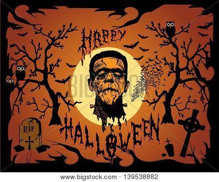 Halloween background vector with Frankenstein head orange color