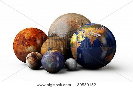 3D Planets In The White Background