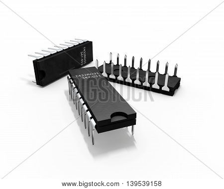 3d Illustration Transistors on a white background