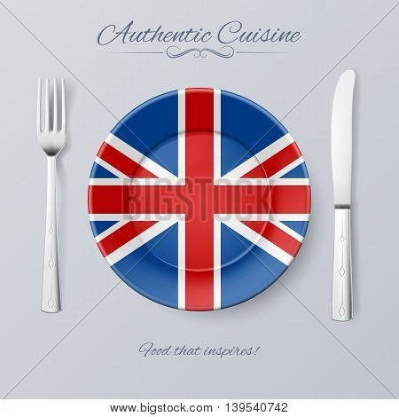 Authentic Cuisine of Great Britain. Plate with British Flag and Cutlery