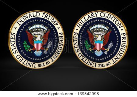 WASHINGTON, D.C. - July 22, 2016: Illustration of presidential seals with the names of the two presidential candidates Hillary Clinton and Donald Trump on them.