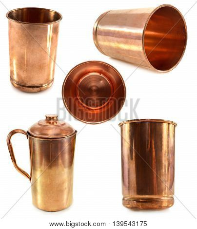 Set with Indian kitchen dishware made of copper