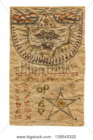 Page from magic book with mystic symbols, demon and pentagram isolated on white