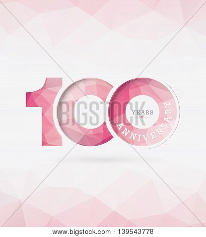 100th Years Anniversary Celebration Design with polygon style