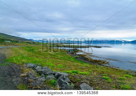 Countryside And Landscape Along The Mjoifjordur Fjord