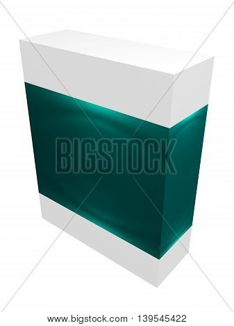 Green paper box for IT equipment, soft, product, delievery on white background isolated
