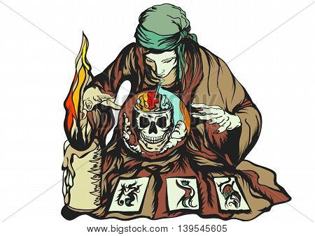 fortune teller isolated on a white background
