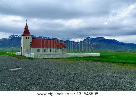 Secluded Church In The Snaefellsnes