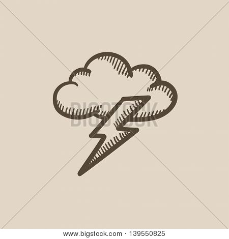 Cloud and lightning bolt vector sketch icon isolated on background. Hand drawn Cloud and lightning bolt icon. Cloud and lightning bolt sketch icon for infographic, website or app.