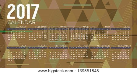 5000x2500 px Modern Abstract 2017 Printable Calendar Starts Sunday Geometric Graphic Vector Illustration. EPS 10 poster