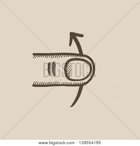 Swipe up touch screen gesture vector sketch icon isolated on background. Hand drawn Swipe up touch screen gesture icon. Swipe up touch screen gesture sketch icon for infographic, website or app.
