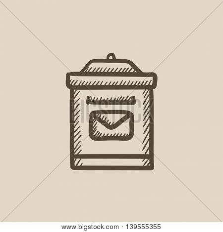 Mail box vector sketch icon isolated on background. Hand drawn Mail box icon. Mail box sketch icon for infographic, website or app.