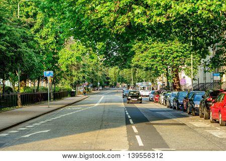 GLASGOW SCOTLAND - JULY 21 2016: Western end of Sauchiehall Street in Glasgow Scotland.