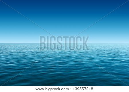 calm blue sea and gradient blue sky background