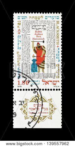 ISRAEL - CIRCA 1979 : Cancelled postage stamp printed by Israel, that shows Rabbi Yehoshua ben Hananya.