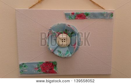 Hand made upcycled shabby chic collage of fabric flower