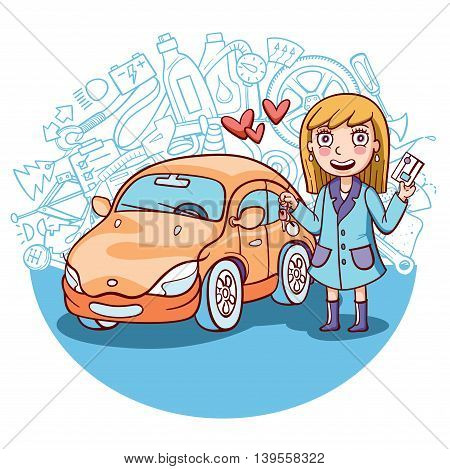 exited girl standing next to her first car