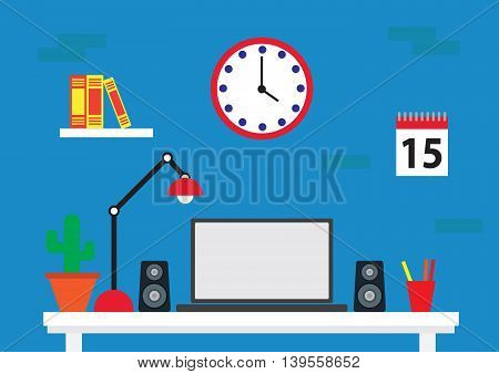 Desk with laptop. working from home concept. Flat design