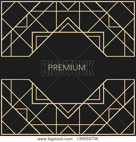 Vector geometric frame in Art Deco style. Square vector abstract element for design. Art Deco border. Light golden vector frame.
