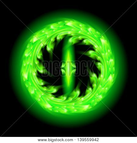 Green fire ornate decorative floral pattern on the black background. Two swirl vertical symmetry patterns.