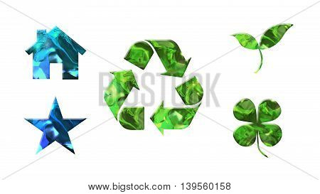 crystal texture of green icons shape for environment protection concept