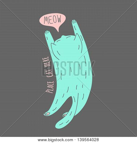Cute meowing cat, top view, vector illustration for t-shirts
