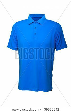 Golf tee shirt blue color for man or woman on white background