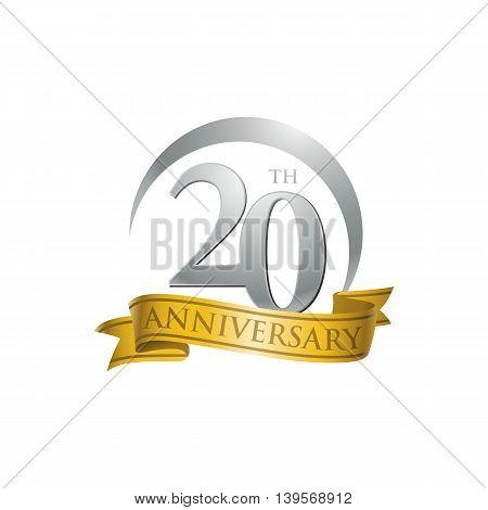 20th anniversary gold logo template. Creative design. Business success