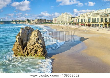 Grande Plage beach and rock on foreground Biarritz Aquitaine France