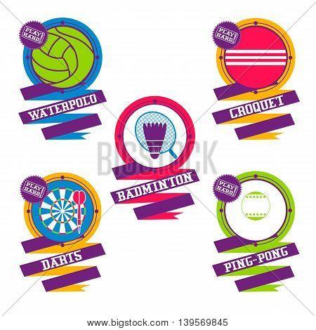 Sports Balls elements. Croquet, badminton, darts water polo ping pong