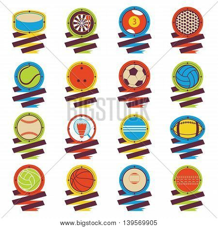 Colorful Sports Balls logo. Football, basketball, golf, volleyball, hockey, american football, tennis, billiard baseball bowling cricket croquet badminton darts golf ping pong