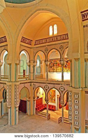 CARTHAGE, TUNISIA - APRIL 29, 2008: Interior of Saint Louis Cathedral (Carthage), Tunisia. Since 1993 the cathedral is known as the