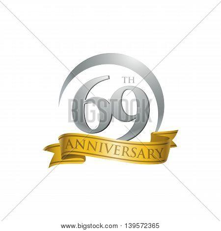 69th anniversary gold logo template. Creative design. Business success