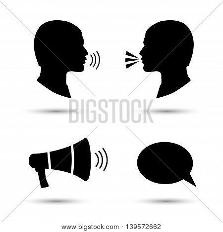 Talk or speak icons. Loud noise symbols. Human talking sign. Megaphone icon. Vector illustration