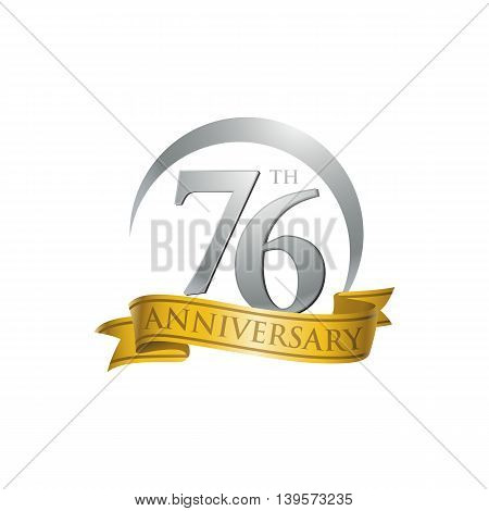 76th anniversary gold logo template. Creative design. Business success