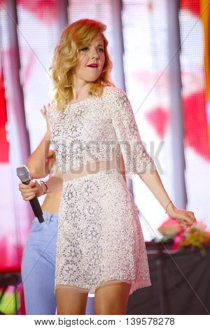 VITEBSK, BELARUS - JULY 17: Russian pop singer Yulianna Karaulova performs during the 25th Slavyansky Bazar Festival on July 17, 2016 in Vitebsk, Belarus