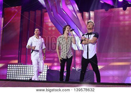 VITEBSK, BELARUS - JULY 17: Russian pop band MBand performs during the 25th Slavyansky Bazar Festival on July 17, 2016 in Vitebsk, Belarus