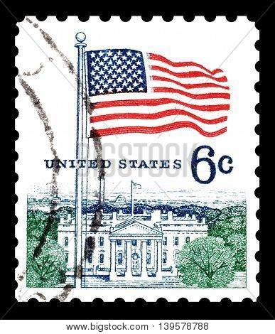 USA - CIRCA 1975 : Cancelled postage stamp printed by USA, that shows The white house and flag.