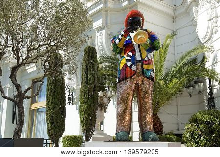 NICE, FRANCE, French Riviera - March 23: statue of Miles Davis by french artist Niki de Saint Phalle, in front of the hotel Negresco on Promenade des Anglais on March 23, 2014, Nice, France. Miles Dewey Davis III was an american jazz trumpeter
