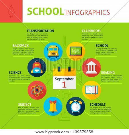School Concept Infographics. Flat Design Vector Illustration of Education and Science Concept.