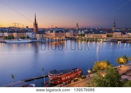 Stockholm. Image of Stockholm, Sweden during twilight blue hour.