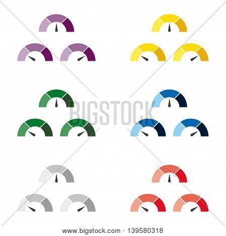 Set of multicolor speedometer or rating meter signs infographic gauge element. Vector illustration