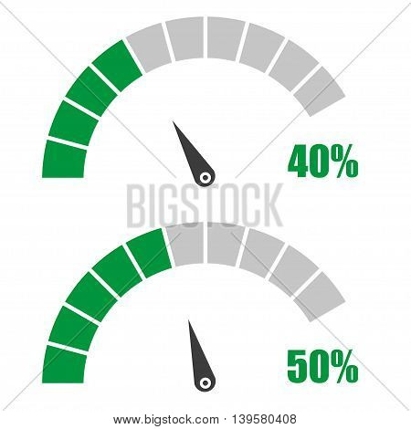 Set of speedometer or rating meter signs infographic gauge element with percent 40 50