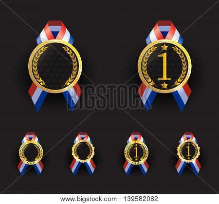 blank medallion with red blue and white ribbon