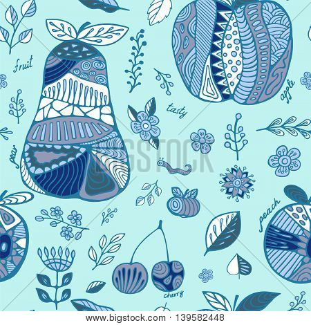 stock vector set of fruit with cherry pear peach apple leaf and flower.seamless hand draw doodle pattern