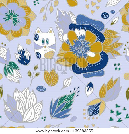 stock vector abstract seamless pattern. orient floral ornament with cat